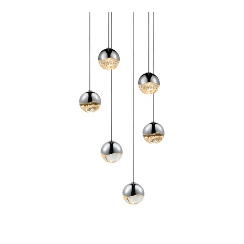 Sonneman Lighting Sonneman Grapes Polished Chrome 6 Light LED Multi-Light Pendant 2915.01-SML