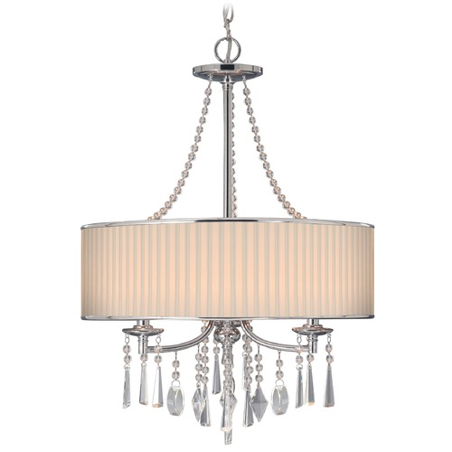 Golden Lighting Golden Lighting Echelon Chrome Pendant Light with Drum Shade 8981-3P BRI
