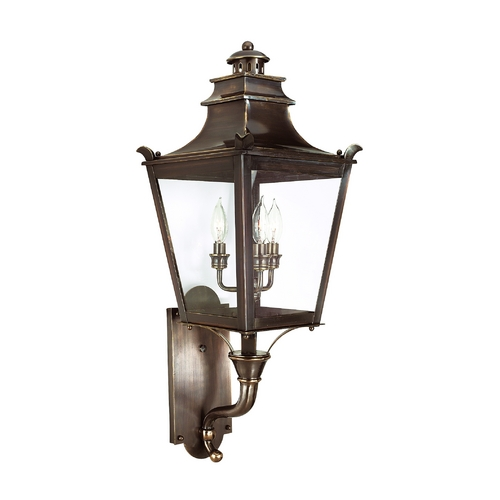 Troy Lighting Outdoor Wall Light with Clear Glass in English Bronze Finish B9493EB
