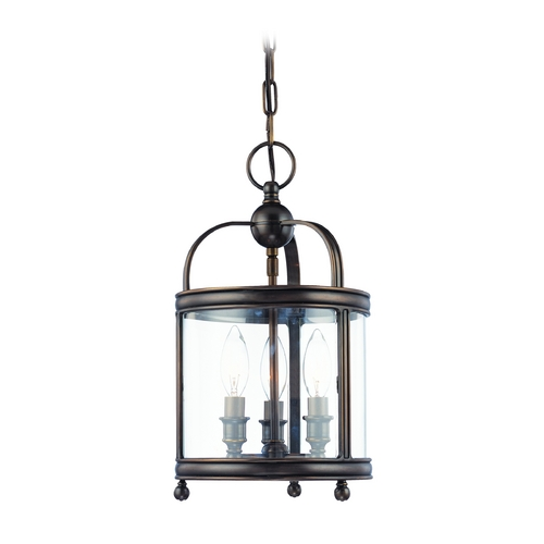 Hudson Valley Lighting Mini-Pendant Light with Clear Glass in Distressed Bronze Finish 7809-DB