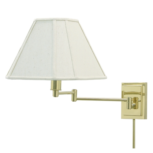 House of Troy Lighting Swing Arm Lamp with White Shade in Polished Brass Finish WS16-61
