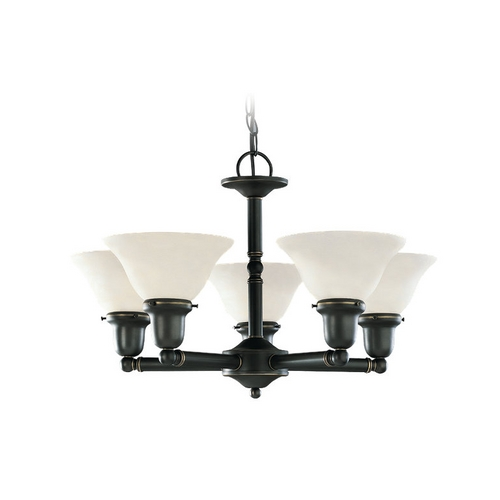 Sea Gull Lighting Chandelier with White Glass in Heirloom Bronze Finish 39062BLE-782