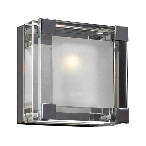 PLC Lighting Modern Sconce Wall Light with Clear Glass in Polished Chrome Finish 18141 PC