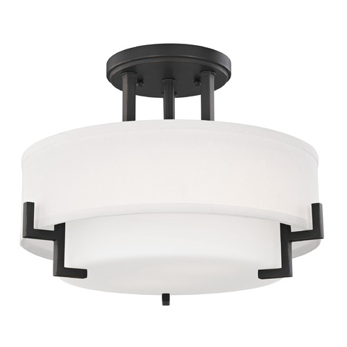 Design Classics Lighting Modern Ceiling Light with White Glass in Bronze Finish 7014-78