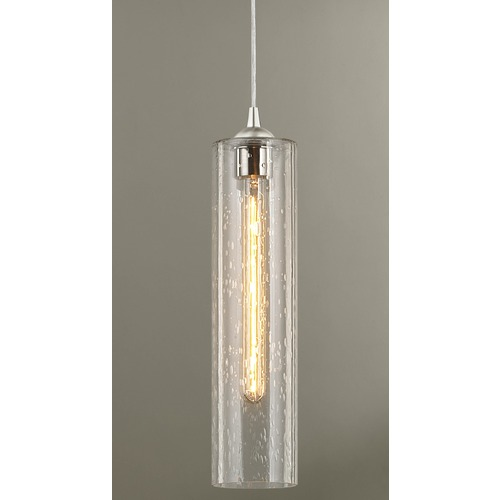 Design Classics Lighting Satin Nickel Mini-Pendant Light with Clear Seedy Cylinder Glass 582-09 GL1641C