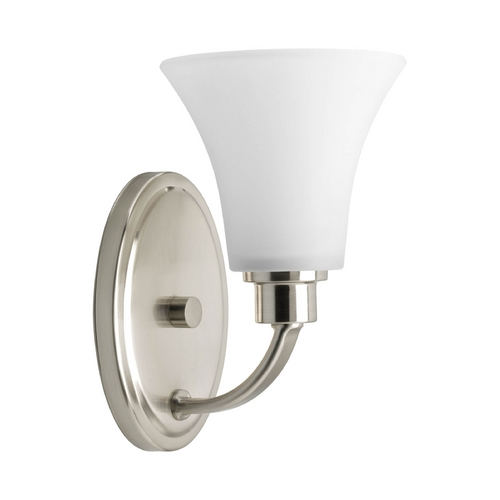 Progress Lighting Progress Sconce Wall Light with White Glass in Brushed Nickel Finish P2000-09