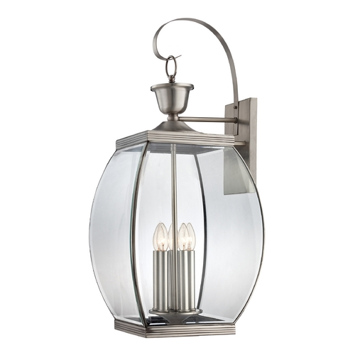 Quoizel Lighting Outdoor Wall Light with Clear Glass in Pewter Finish OAS8413P