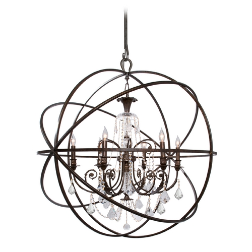 Crystorama Lighting Pendant Light in English Bronze Finish 9219-EB-CL-S