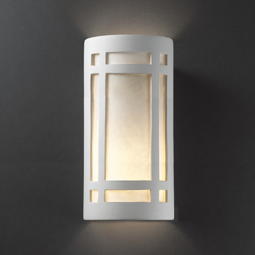 Justice Design Group Sconce Wall Light with White in Bisque Finish CER-7497-BIS