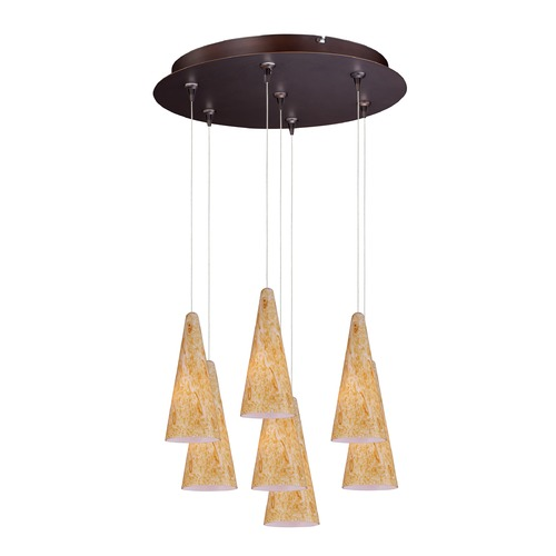 ET2 Lighting Minx Bronze Multi-Light Pendant with Conical Shade E93730-103BZ
