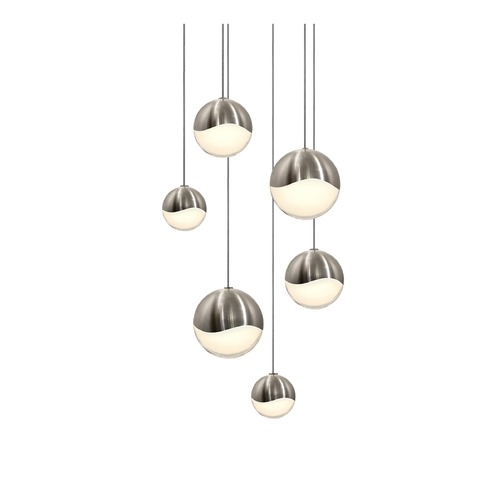 Sonneman Lighting Sonneman Grapes Satin Nickel 6 Light LED Multi-Light Pendant 2915.13-AST