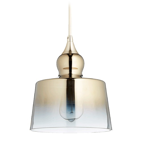 Quorum Lighting Quorum Lighting Satin Gold Mini-Pendant Light with Drum Shade 8001-2020