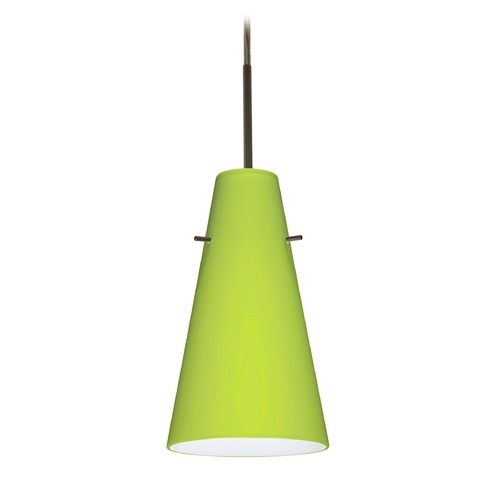 Besa Lighting Besa Lighting Cierro Bronze LED Mini-Pendant Light with Conical Shade 1JT-412435-LED-BR