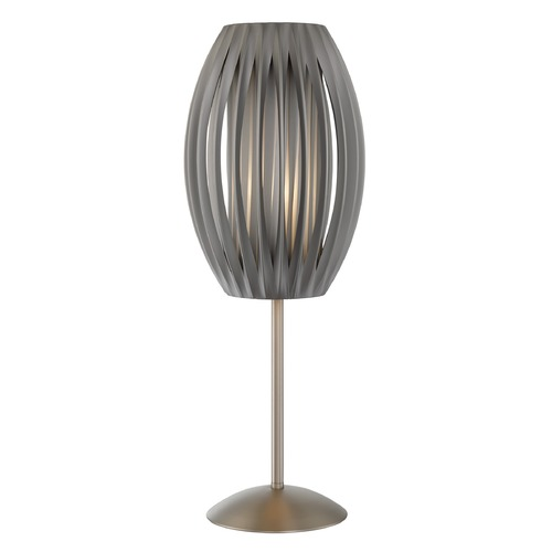Lite Source Lighting Lite Source Egg Stainless Steel Table Lamp with Cylindrical Shade LS-2875SS/GREY