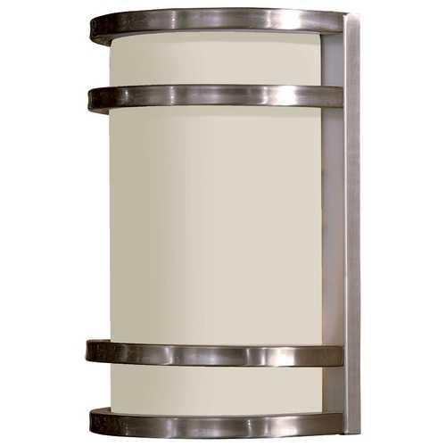 Minka Lavery Modern Outdoor Wall Light with White Glass in Brushed Stainless Steel Finish 9801-144-PL