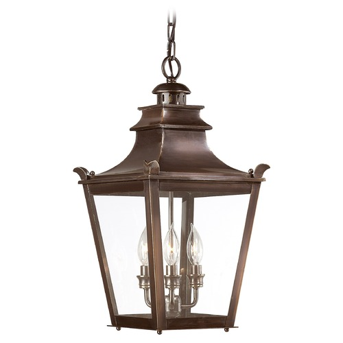 Troy Lighting Outdoor Hanging Light with Clear Glass in English Bronze Finish F9498EB