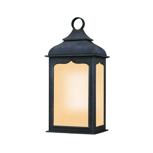 Troy Lighting Frosted Seeded Glass Outdoor Wall Light Iron Troy Lighting BF2011CI