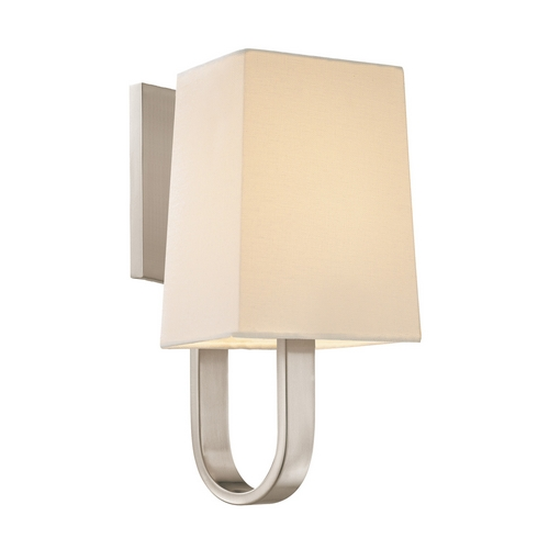 Sonneman Lighting Sconce Wall Light with White Shade in Satin Nickel Finish 1821.13F