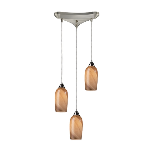 Elk Lighting Modern Multi-Light Pendant Light with Multi-Color Glass and 3-Lights 31137/3