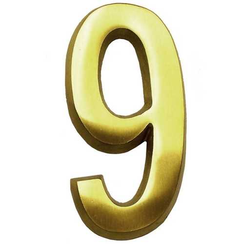 Gaines Hardware #9 Satin Brass 4-Inch House Number GM CB-9
