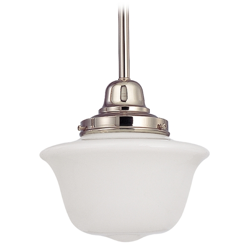 Design Classics Lighting 8-Inch Retro Style Mini-Pendant Light with Schoolhouse Glass FB4-15 / GD8