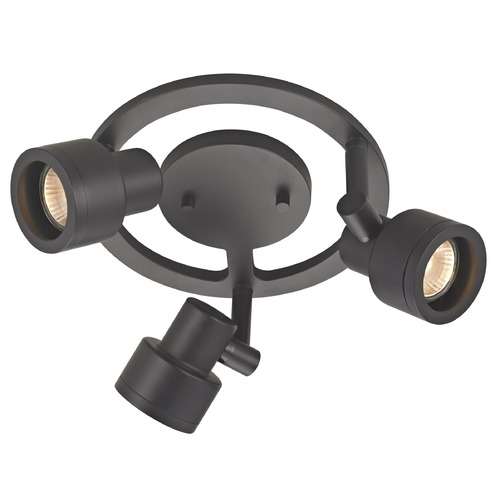 Recesso Lighting by Dolan Designs 3-Light Stepped Cylinder Round Spot Light - Black - GU10 Base TR0213-BK