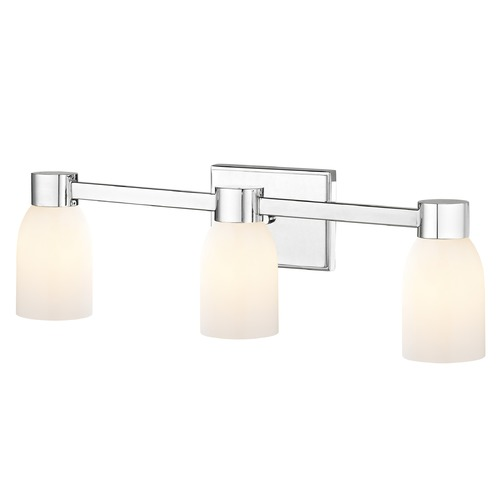 Design Classics Lighting 3-Light Shiny White Glass Bathroom Vanity Light Chrome 2103-26 GL1024D