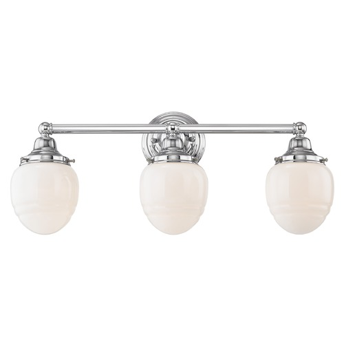 Design Classics Lighting Schoolhouse Bathroom Light Chrome White Opal Glass 3 Light 21.875 Inch Length WC3-26 GG5