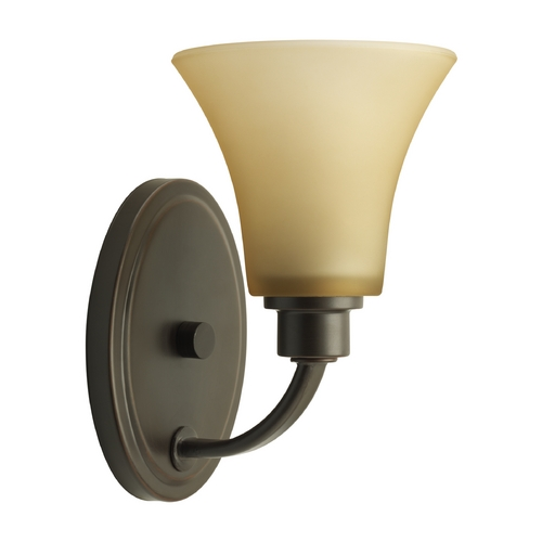 Progress Lighting Progress Sconce Wall Light with Brown Glass in Antique Bronze Finish P2000-20