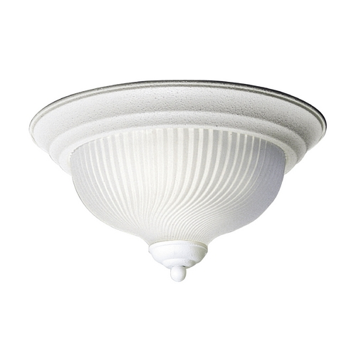 Progress Lighting Progress Flushmount Light with White Glass in Textured White Finish P3536-30