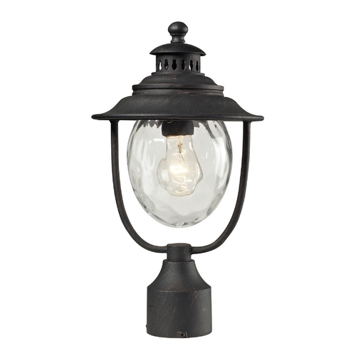 Elk Lighting Post Light with Clear Glass in Weathered Charcoal Finish 45042/1