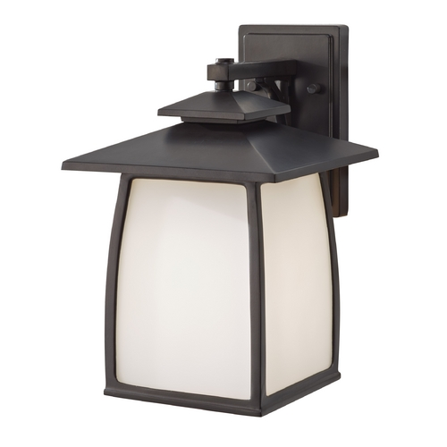 Feiss Lighting Outdoor Wall Light with White Glass in Oil Rubbed Bronze Finish OL8502ORB