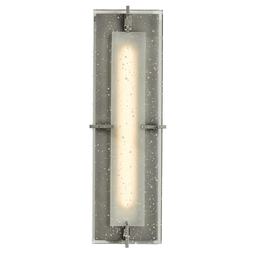 Hubbardton Forge Lighting Seeded Glass LED Outdoor Wall Light Burnished Steel Hubbardton Forge Lighting 308010-LED-08-II0359