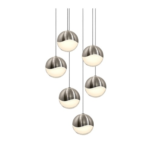 Sonneman Lighting Sonneman Grapes Satin Nickel 6 Light LED Multi-Light Pendant 2915.13-LRG