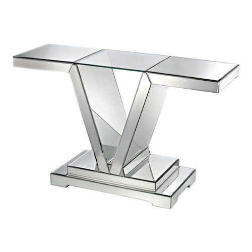 Dimond Lighting Mirrored Console Table With Clear Glass Top 114174