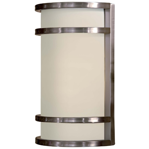 Minka Lavery Modern Outdoor Wall Light with White Glass in Brushed Stainless Steel Finish 9802-144-PL