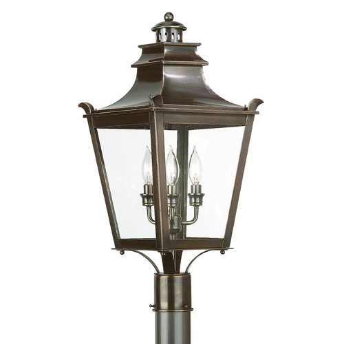 Troy Lighting Post Light with Clear Glass in English Bronze Finish P9496EB