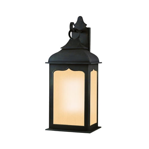 Troy Lighting Frosted Seeded Glass Outdoor Wall Light Iron Troy Lighting BF2013CI