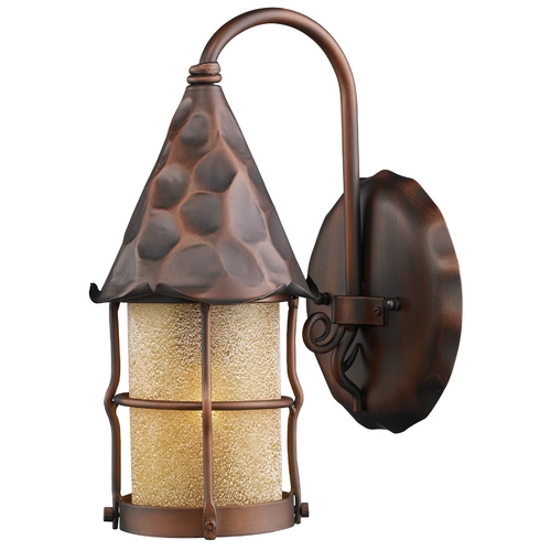 Elk Lighting Outdoor Wall Light with Beige / Cream Glass in Antique Copper Finish 381-AC