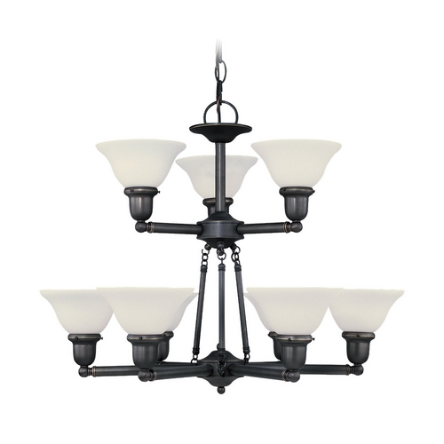 Sea Gull Lighting Chandelier with White Glass in Heirloom Bronze Finish 39063BLE-782