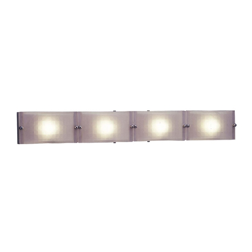 PLC Lighting Modern Bathroom Light with White Glass in Polished Chrome Finish 1804 PC