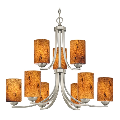 Design Classics Lighting Modern Chandelier with Brown Art Glass in Satin Nickel Finish 586-09 GL1001C