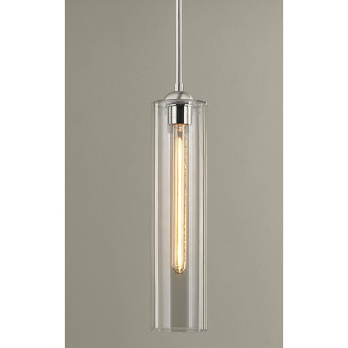 Design Classics Lighting Satin Nickel Mini-Pendant Light with Clear Cylinder Glass 581-09 GL1640C