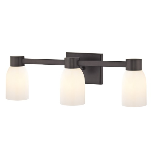 Design Classics Lighting 3-Light Shiny White Glass Bathroom Vanity Light Bronze 2103-220 GL1024D