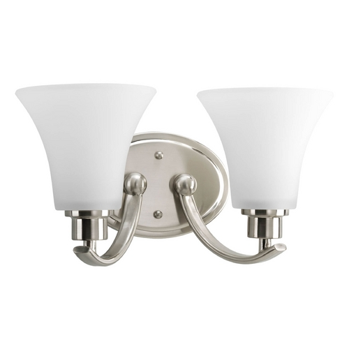 Progress Lighting Progress Bathroom Light with White Glass in Brushed Nickel Finish P2001-09