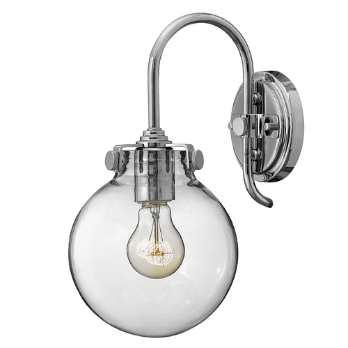 Hinkley Lighting Sconce Wall Light with Clear Glass in Chrome Finish 3174CM