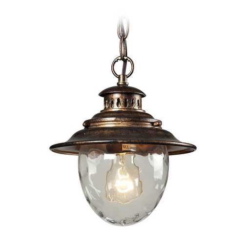 Elk Lighting Outdoor Hanging Light with Clear Glass in Regal Bronze Finish 45031/1