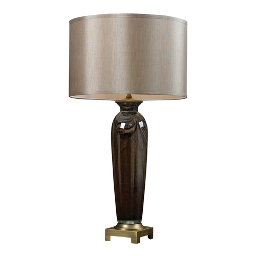 Dimond Lighting Dimond Wellholt Coffee Swirl and Antique Brass Table Lamp with Drum Shade D2406