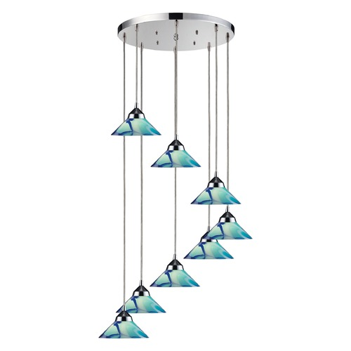 Elk Lighting Elk Lighting Polished Chrome Multi-Light Pendant with Conical Shade 1477/8R-CAR