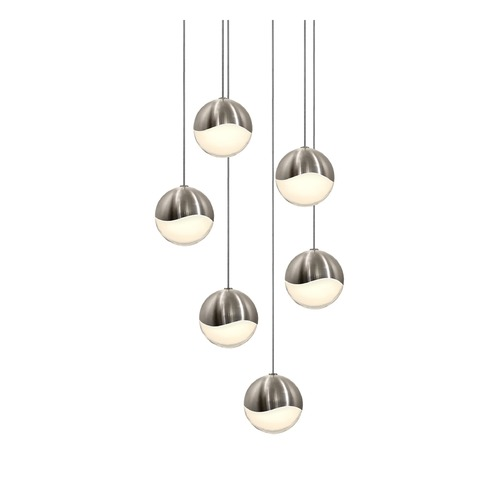 Sonneman Lighting Sonneman Grapes Satin Nickel 6 Light LED Multi-Light Pendant   2915.13-MED